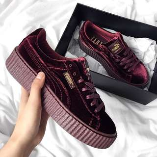 Puma Fenty Women's Creepers Velvet Purple Burgundy Shoes