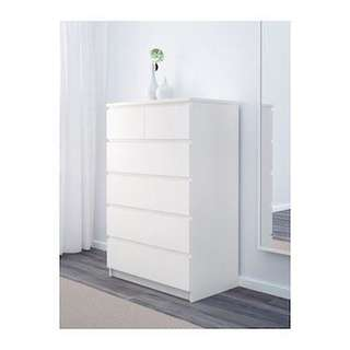 Malm chest drawer of 6