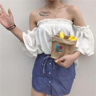現貨🌞一字領雪紡五分袖🌞實拍韓版夏天女裝純色松緊花邊中袖上衣學生