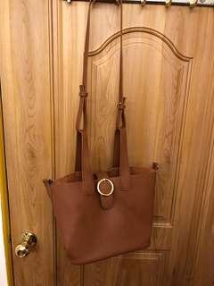 韓版棕色肩背手提包