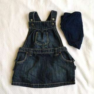 Old Navy denim jumper dress with dc 12/18m