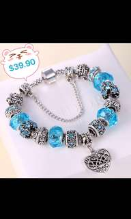 $39.90 INSTOCKS!  (BN) S925 Silver Charm Bracelet with real Swarovski - From KOREA