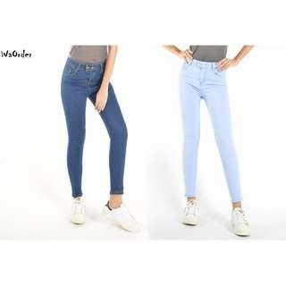 Light Blue,Dark Blue Korean Style Series Denim Pants Elastic Women Highwaist Jeans