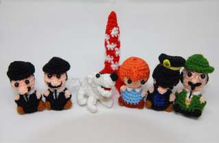 Tin Tin amigurumi, crochet, tintin, snowy, captain haddock, professor calculus, thomson and thompson, moon rocket