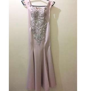 Off shoulder gown with slit on the side (nude color)