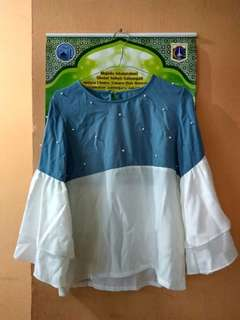 Blouse white/blue