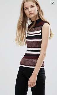 High Neck Knit (Maroon & Stripe)