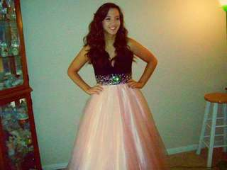 Pink and black prom dress size 8