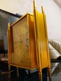德國制Haid海德金黃銅古董石英座鐘重4KG