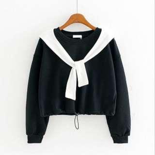 Sweater Casual Simpul Dasi Serut Cropy Hitam