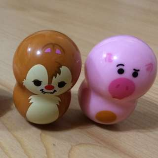 Disney迪士尼chip & dale及豬豬小figures擺設