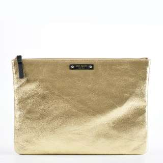 Authentic Kate Spade Gold Leather Clutch Bag
