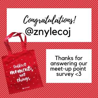 Winner: Tote Bag Giveaway (Meet-Up Point Survey)