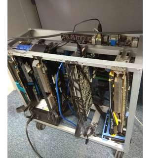 114Mhz etherium mining rig (4 x R9 290 4GB) complete set
