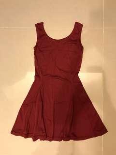 🚚 酒紅無袖性感洋裝