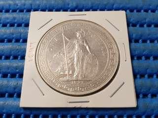 1897 British Trade Dollar Silver Coin
