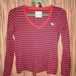 Blouse red and black stripes longsleeves