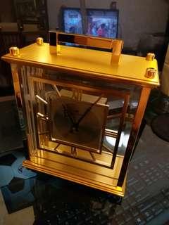 德國制JUNGHANS榮漢斯金黃銅古董石英座鐘重4KG