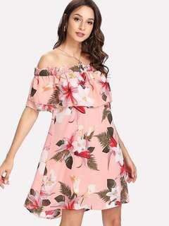 Peach off shoulder floral Dress