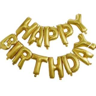 [NEW] Happy Birthday Balloons - Gold A4 Sized