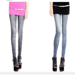 45959B Plus Size Stretch Leggings Thin Pants (Classic Jeans Printing)