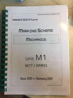 Edexcel GCE A level M1 Mark Scheme (January 2001-June 2015)