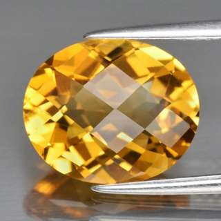Top! VVS 3.84ct 12x9.8mm Oval Natural Goden Yellow Citrine, Brazil