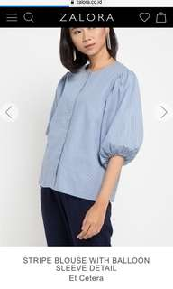 Et cetera STRIPE BLOUSE WITH BALLOON SLEEVE DETAIL