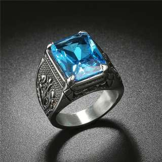 Cincin Pria Punk Rock CZ Blue Red Purple 316L Stainless Steel