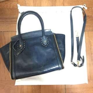 寶藍色皮革手袋/手挽袋/側揹袋