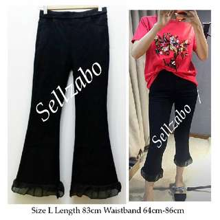Size L Black Colour Ankle Pants Slim Fit Frills Bell Bottom Trousers Tights Leggings Ladies Girls Women Female Lady #S196