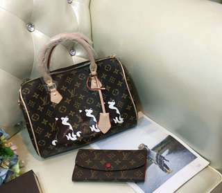 LV speedy edition free wallet