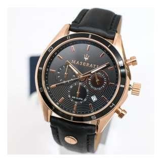 【可自取】基隆大錶哥Maserati R8871624001三眼黑金計時腕錶 男錶女錶