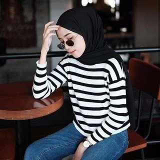 Black m white top