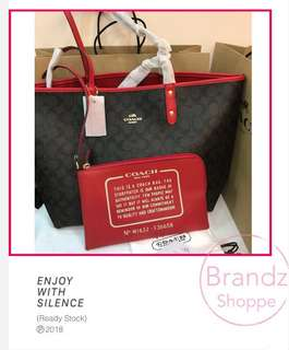 💝Best Deal! 💯% Authentic Coach Reversible Tote (Dark Brown / Light Brown) Signature C Logo 👜 Ready Stock!!!