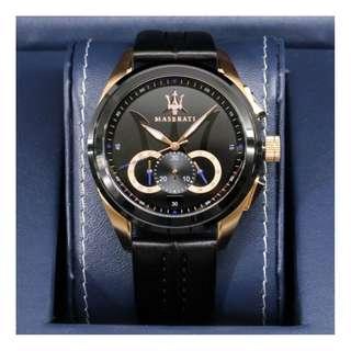 【負法律責任】Maserati R8871612025三眼黑金計時腕錶 男錶 基隆大錶哥45mm