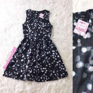 VL5244 Mds black circle print dress
