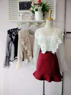 Netting and lace blouse