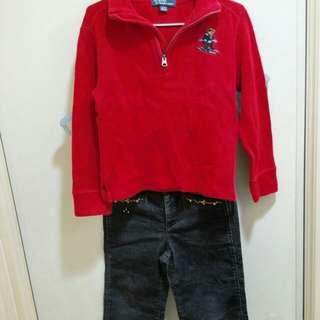 🚚 Polo紅上衣加麗嬰房長褲2件