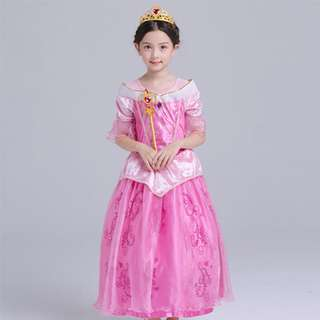 New Aurora Princess Dress Pink Costume Cosplay For Children 4-12y