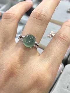 天然翡翠A貨純銀鑲嵌戒指