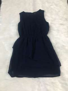 F21 Navy Blue Chiffon Dress