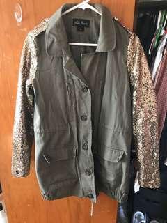 Khaki Glitter Sleeve Jacket