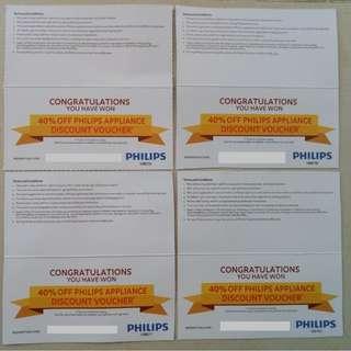 - 40% OFF Philips Appliance Discount Voucher  ( 4 pieces x $10 ) for sale Singapore