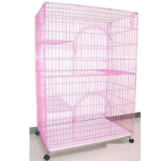 4.5尺高加大型貓籠 (粉紅色雙門+4層+3跳板折疊活動式)靜電粉體烤漆籠