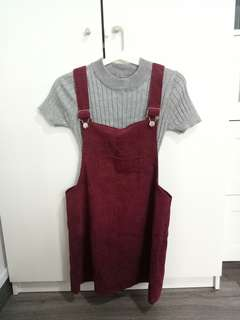 Red Ribbed Dungaree Dress