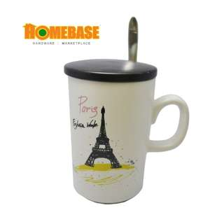 HOMEbase Korean Imported Eco creative Design Ceramic Mug, Mug with Handle,spoon and Cover, Multipurpose Indoor & Outdoor Mug (hy823-2) * Eiffel Tower