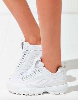 (可議)全新 全白FILA 增高鞋 鋸齒鞋 老爹鞋