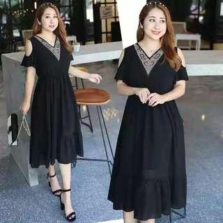PO Large Size Elegant Black Dress