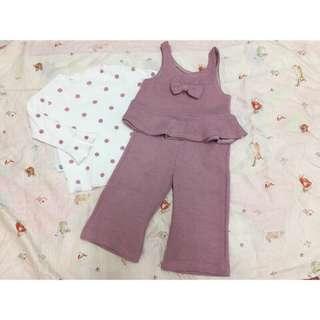 🚚 女童圓點喇叭袖打底衫蝴蝶背心喇叭褲三件組套裝